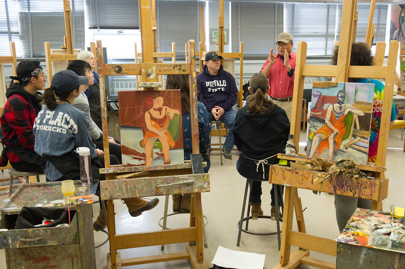 Students working in Art and Design professor Lin Jiang's painting class at Buffalo State College.