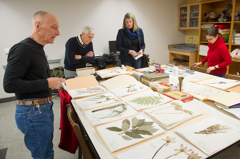Jim Battaglia leads a group of visitors from the Buffalo History Museum through the Eckert Herbarium at Buffalo State College.