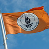 Buffalo State flag in Union Quad at Buffalo State College.