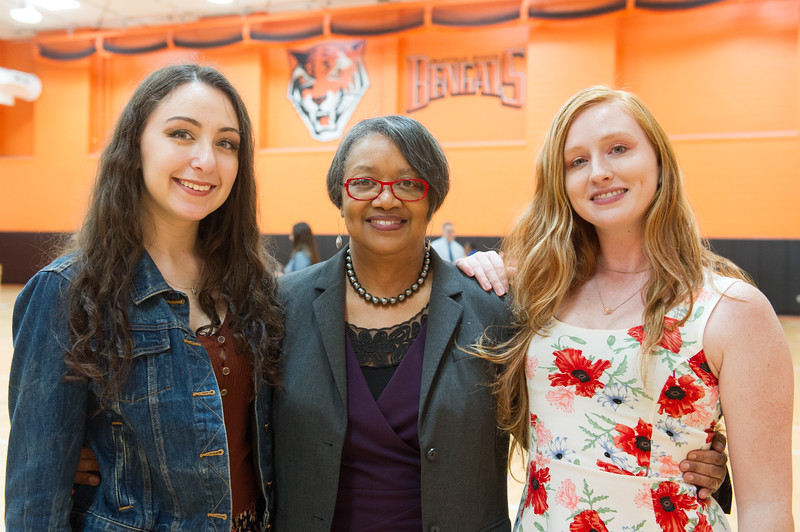 President Katherine Conway-Turner celebrating with graduating seniors at the Commencement Preview at Buffalo State College.