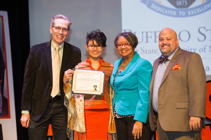Buffalo State President's Medal graduate student winner, Win Min Thant receiving award during the Student Leadership Awards ceremony at Buffalo State College.