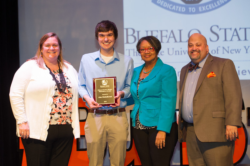 Phillip Santa Maria Student Humanitarian Award winner, Alec Eichelkraut receiving award during the Student Leadership Awards ceremony at Buffalo State College.