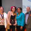 Luis M. Antonetti Student Humanitarian Award winner, Bianca Gonzalez receiving award during the Student Leadership Awards ceremony at Buffalo State College.