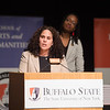 EOP alumna, Dr. Crystal Rodriquez speaking at the Educational Opportunity Program (EOP) Honors Convocation at Buffalo State College.