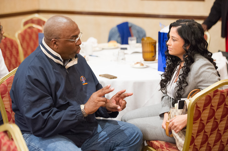 Ms. Jasmine Rand, Esquire speaking with participants at the Networking in Higher Education: Building Bridges for a Better Tomorrow conference hosted by Buffalo State College and the University at Buffalo.