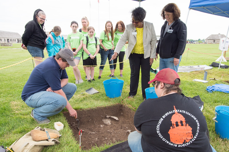 President Katherine Conway-Turner visiting Buffalo State College Anthropology Department Archaeological Field School dig at Old Fort Niagara lead by Dr. Susan Maguire.