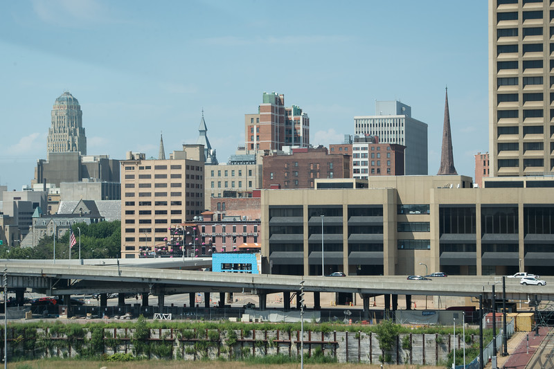 Skyline of downtown Buffalo, New York photographed from Harbor Center.