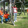 Buffalo State College students exploring outdoor sculpture on the grounds of the Albright-Knox Art Gallery.