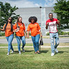 Buffalo State College students walking near Burchfield-Penney Art Center.