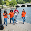 Buffalo State College students near Hoyt Lake in Delaware Park.