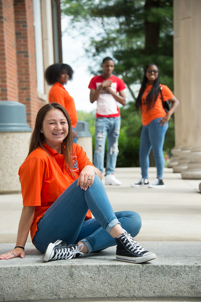 Students on steps of Rockwell Hall at Buffalo State College.