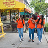 Buffalo State College students walking through Elmwood Village.