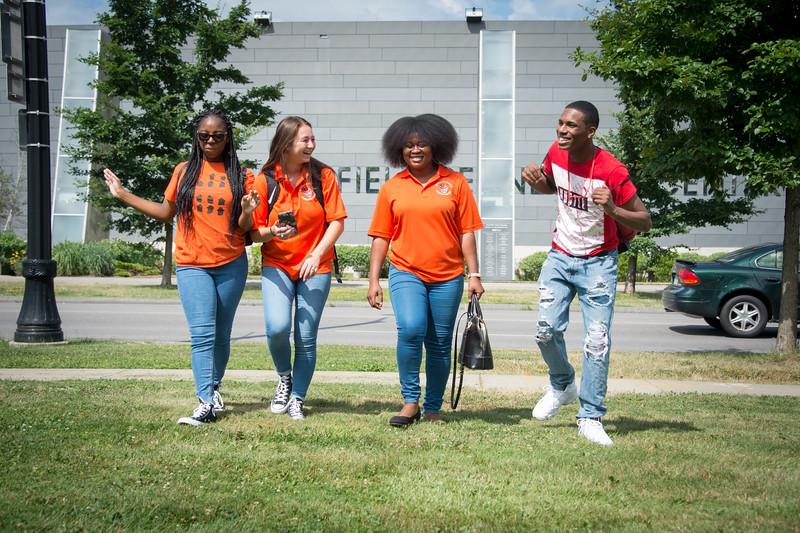 Buffalo State College students walking near Burchfield-Penney Art Center.