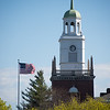 Rockwell Hall bell tower with flag at Buffalo State College.