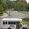 Paratransit Access Line (PAL) NFTA-Metro bus pulled up in front of Cleveland Hall at Buffalo State College.