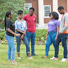 Students talking in front of Rockwell Hall at Buffalo State College.