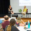 Holocaust survivor Sophia Veffer speaking at the Buffalo State College Anne Frank Project (AFP) Social Justice Fellows program for teachers.