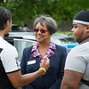 President Katherine Conway-Turner speaking with students and parents during Move In Day at Buffalo State College.
