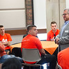 Engineering Technology professor Ilya Grinberg talking with students during First Year Student Orientation at SUNY Buffalo State College.