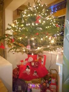 our shiny real Christmas tree