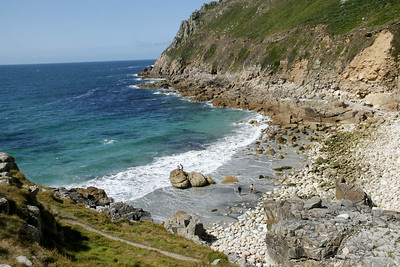 Porth Nanvern - one of a number of raised beaches in the UK; also named Cot Valley beach or Dinosaur egg beach.