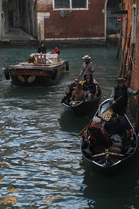 Gondoliers in their traditional outfit