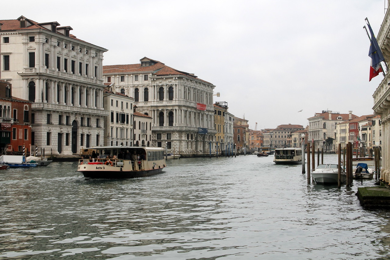 water busses (vaporetti) on the Grand Canal