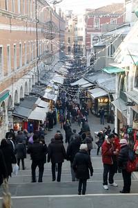Market stalls near the Rialto Bridge