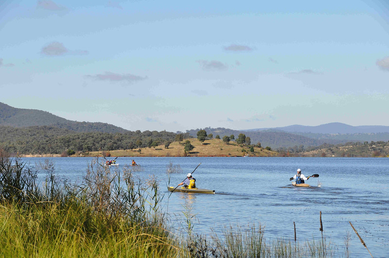6 hour multisport rogaine at Googong Dam (I did admin with David B), NSW, 3/4/11<br /> Competitors setting off in their boats just after the start