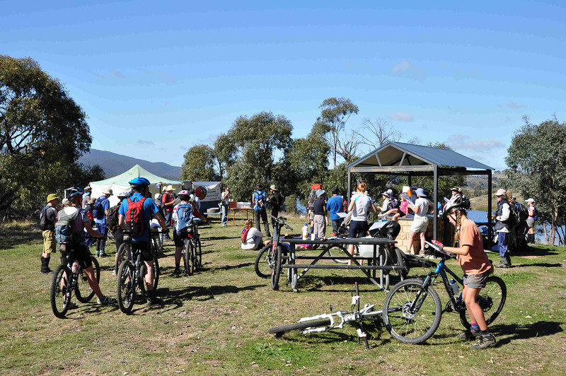 6 hour multisport rogaine at Googong Dam (I did admin with David B), NSW, 3/4/11<br /> Julie Quinn giving the pre-event briefing<br /> Zoe and her bike in right foreground