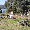 6 hour multisport rogaine at Googong Dam (I did admin with David B), NSW, 3/4/11<br /> Bikes waiting at the hashhouse for riders to return from a boat or foot leg