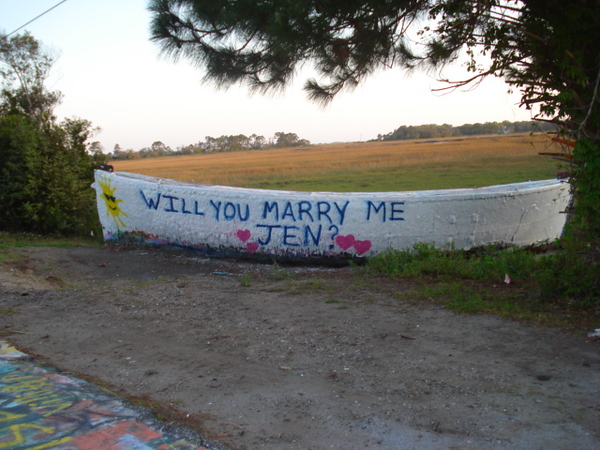 4-12-2011 submitted by Tonya Richburg<br /> My brother (in-law) Mansel Senn Proposed to his girlfriend Jennifer Hammond April 12, 2011.  He had painted it around 1pm and went by around 4pm to find someone else painting over it.  She (Jen) Hadn't seen it yet!!  So, he stopped and told them that she wouldn't be by to see it till after 6.  They were so nice!  They repainted it for him!  He was so happy and excited.....he left and then realized he hadn't even asked their names!  He wants to thank them for their kindness.  I hope somehow they get the message!