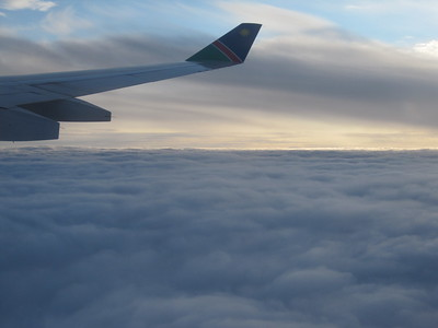 Through the cloud cover after take-off from Frankfurt airport.