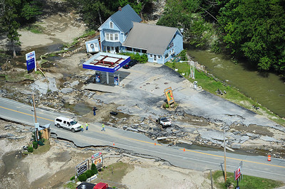 The Irving gas station in West Bridgewater, VT consumed by flood waters