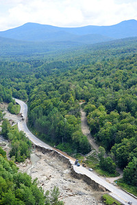 Route 4 between Killington, VT and Mendon, VT  Huge chunks of highway had turned into 20' cliffs
