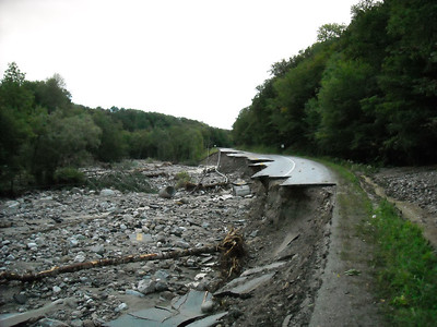 This is the major highway just outside of Rutland -- Route 4 -- the main road to the east. This is one of hundreds of examples of the obstacles we will face in restoring service. - Steve Costello photo
