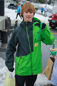 Zane FIelds holding in medal