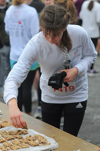 Anna Ramsey partakes of the numerous snacks after the race