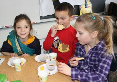 students enjoying Indian foods