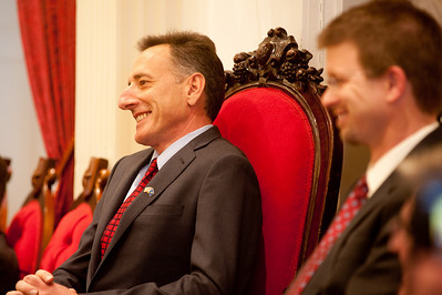 Governor Peter Shumlin smiles as he listens to the invocation just after being sworn-in as Vermont's 81st governor. (Herald / Tim Calabro)