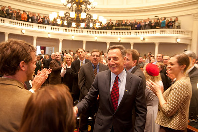 Governor-elect Peter Shumlin enters the Vermont house chamber for his inauguration ceremony on Thursday, 6 January 2011. (Herald / Tim Calabro)