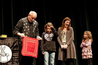 """A Finer Magic Show You've Never Seen"" Yoh Auditorium, Woodstock Union High School Woodstock VT Jan 7, 2011 Nancy Nutile-McMenemy, Photographer www.photosbynanci.com"