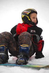 Ben Worth on his snowboard