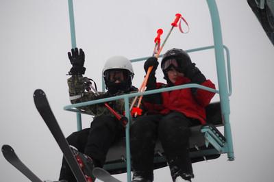 Kids ride the ski lift 2
