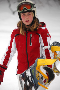 Anabell Lessard with her snowboard
