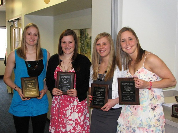 2010-11 SCSU Scholar Athletes: (L to R)  Anna Donlan, Callie Dahl, Courtney Josefson, Brittany Toor