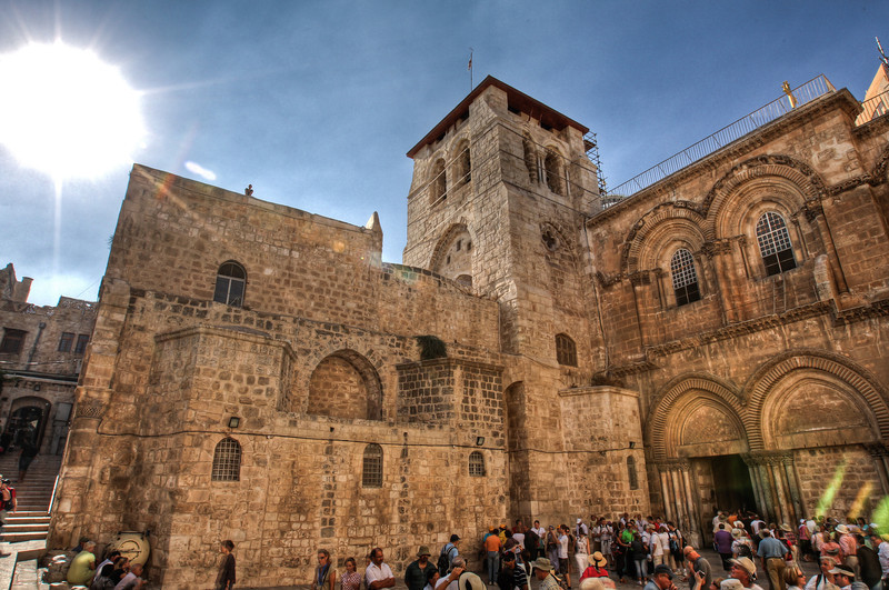 The speculated location of the crucifixion, tomb, and resurrection of Jesus.