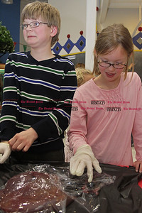 "Samantha Burr Siblings Logan Vousianinen, 10, and Abi Vousianinen, 8, feel a cow liver and eyeball as part of the Imagine Nation Museum's ""Grossology"" display on Friday afternoon. (4/1/11)"