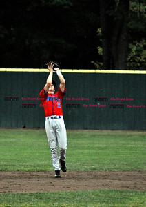 7/25/11 Kayla Adams Bristol's Connor Hayes (5) catches a fly ball against Unionville during the Legion Baseball Tournament at Muzzy Field in Bristol Monday evening.