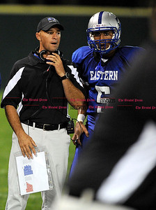 9/30/2011 Mike Orazzi | Staff Bristol Eastern football coach Michael Archangelo during Friday's game against Windsor at Muzzy Field in Bristol.